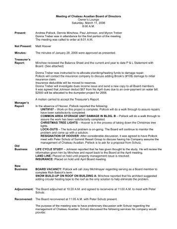 CA Board Meeting minutes 03-11-2006 - Summit Resort Group HOA ...