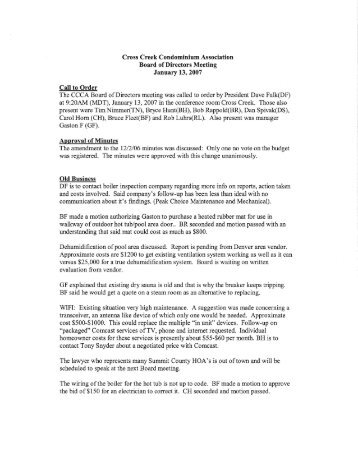 CC Board of Directors meeting 1-13-07 - Summit Resort Group HOA ...