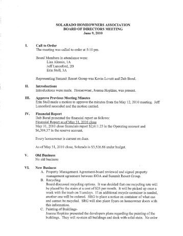 SOL Board Meeting Mintues 6-9-10 - Summit Resort Group HOA ...