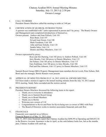 CA Annual Meeting Minutes 2013 - Summit Resort Group HOA ...
