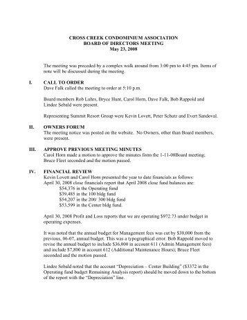 CC 5-23-08 BOD Meeting Minutes - Summit Resort Group HOA ...
