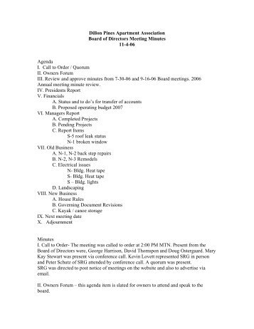 11-4-06 Board meeting minutes - Summit Resort Group HOA ...