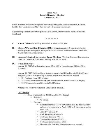 DP 10-24-12 Board meeting minutes - Summit Resort Group HOA ...