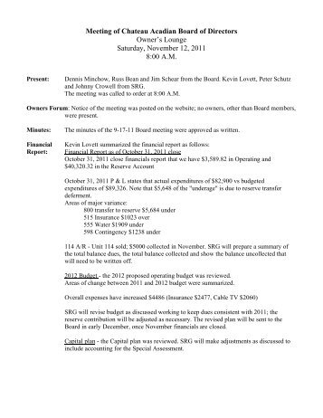 Chateau BOD Meeting minutes 11-12-11