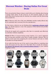 Discount Watches  Buying Online For Great Deals