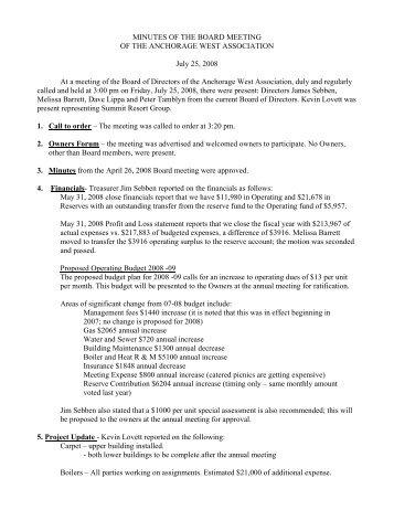 AWA Board Mtg Minutes - Summit Resort Group HOA Property ...