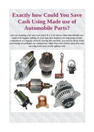Exactly how Could You Save Cash Using Made use of Automobile Parts?