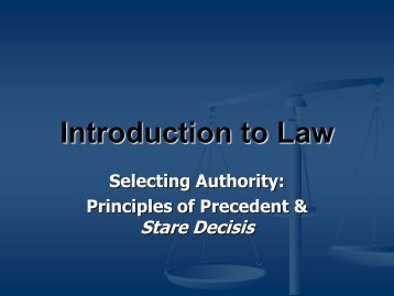 Principles of Precedent & Stare Decisis - UMKC School of Law