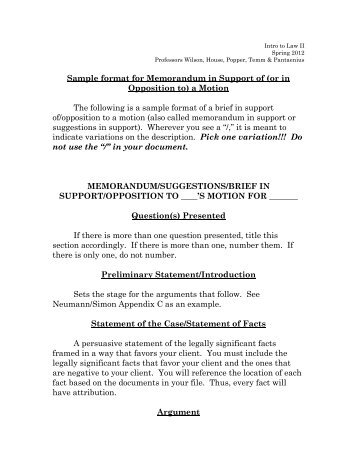 memorandum of law sample format selo l ink co