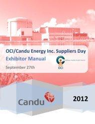 OCI/Candu Energy Inc. Suppliers Day - Organization of CANDU ...
