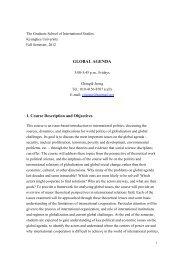 GLOBAL AGENDA 1. Course Description and Objectives