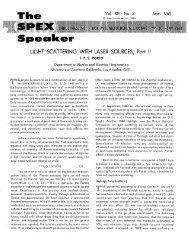 LIGHT SCATTERING WITH LASER SOURCES, Part II - SPEX Speaker