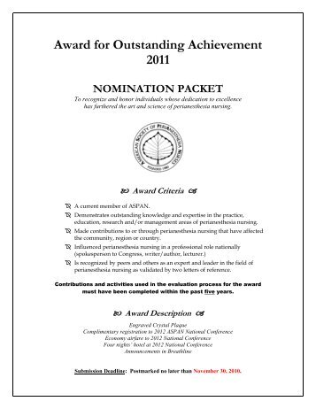 Award for Outstanding Achievement 2011 NOMINATION ... - CBSPAN