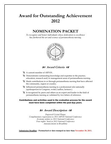 Award for Outstanding Achievement 2012 NOMINATION ... - CBSPAN