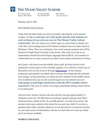 letter from the head the miami valley school