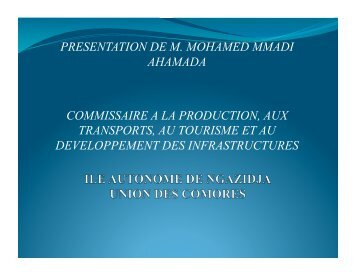 presentation de m. mohamed mmadi ahamada commissaire a la ...