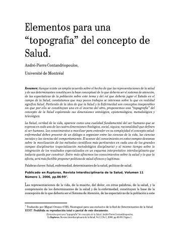 """Elementos para una """"topografía"""" del concepto de Salud."""