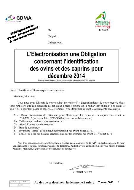 Dossier Pour ãlectronisation Du Cheptel Gdma 36