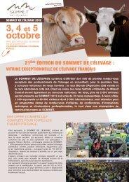 3, 4 et 5 octobre - Sommet de l'élevage