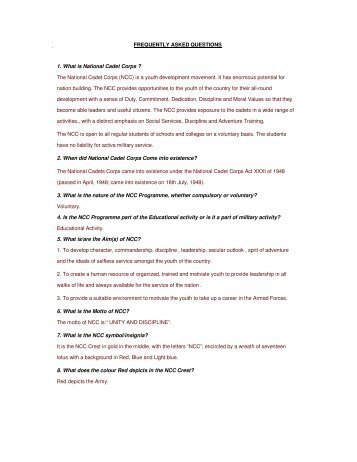 frequently asked questions - National Cadet Corps