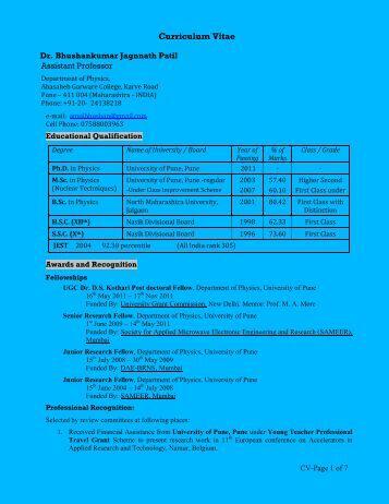 Curriculum Vitae - MES Abasaheb Garware College