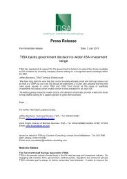 TISA backs government decision to widen ISA investment ... - UK.COM