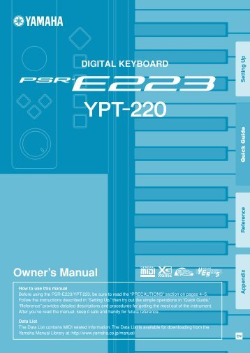 PSR-E223/YPT-220 Owner's Manual - zzounds.com