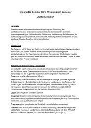 "Integriertes Seminar (ISF), Physiologie 2. Semester ""Kältemyotonie"""