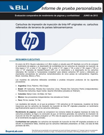 Informe de prueba personalizada - Hewlett Packard