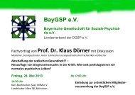 BayGSP e.V. Fachvortrag von Prof. Dr. Klaus Dörnermit Diskussion