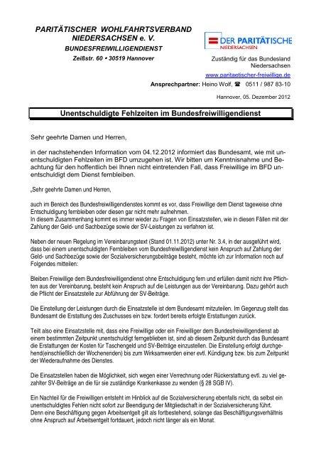 Fehlzeiten - Paritaetischer-freiwillige.de