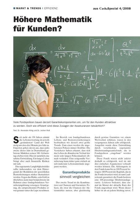 Höhere Mathematik für Kunden? - Institut für Finanz