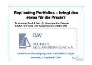 Replicating Portfolios – bringt das etwas für die ... - Institut für Finanz