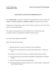 Prof. Dr. Oskar Gans Seminar Internationale Wirtschaftspolitik ...