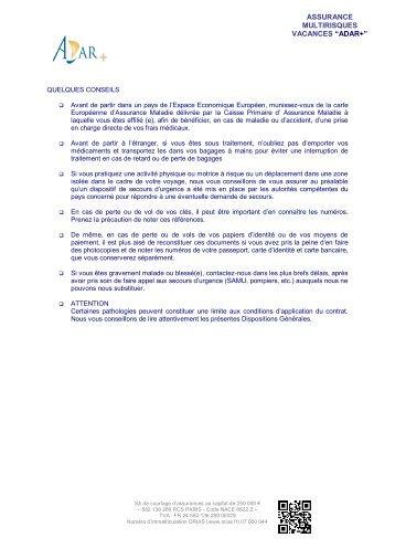 "ASSURANCE MULTIRISQUES VACANCES ""ADAR+"" - Aduciel"