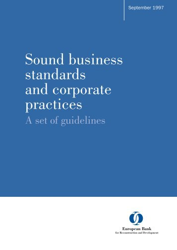 Sound business standards and corporate practices - EBRD