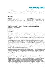 Bendrovių valdymo kodeksas - NASDAQ OMX Baltic