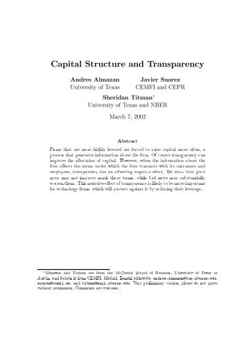 Capital Structure and Transparency