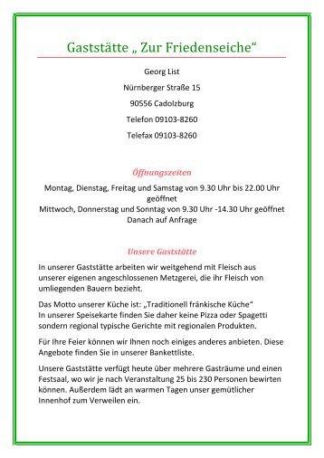 """Gaststätte """" Zur Friedenseiche"""""""