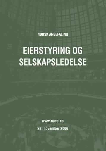 Norsk anbefaling for eierstyring og selskapsledelse 28 ... - NUES