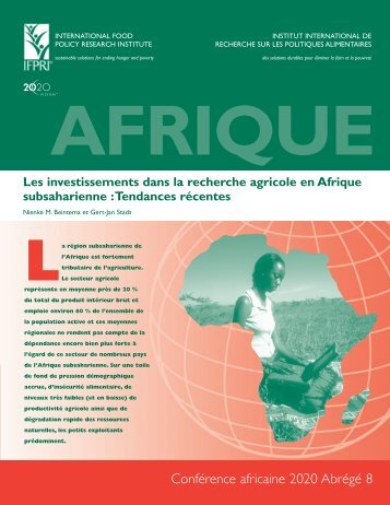 Les investissements dans la recherche agricole en Afrique ...