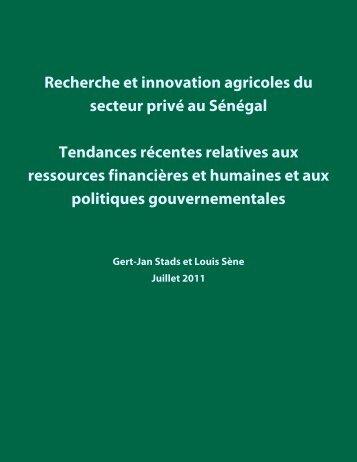 Recherche et innovation agricoles du secteur privé au ... - ASTI - cgiar