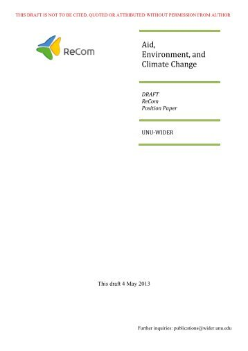 Draft Position Paper for Aid, Environment and Climate ... - ReCom