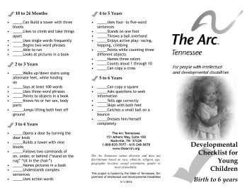 Developmental Checklist for Young Children - The Arc of Tennessee