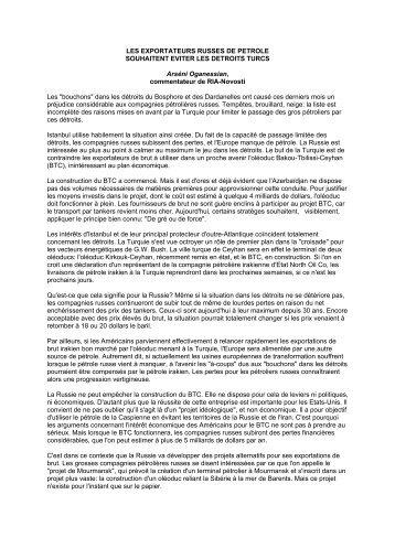 LES EXPORTATEURS RUSSES DE PETROLE SOUHAITENT ...