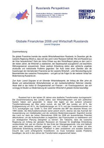 Globale Finanzkrise 2008 und Wirtschaft Russlands