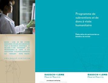 Programme de subventions et de dons à visée ... - Bausch + Lomb