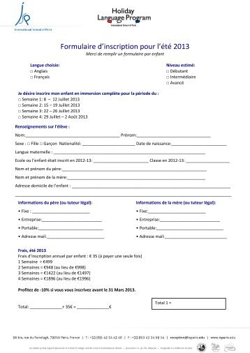 Formulaire d'inscription pour l'été 2013 - International School of Paris