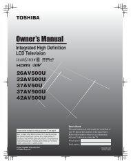 LCD Television - Toshiba Canada