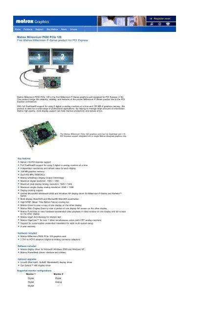 DOWNLOAD DRIVER: MATROX P650 PCIE 128